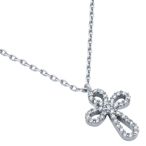 """RHODIUM PLATED ROUNDED CROSS CZ NECKLACE 16"""" + 2"""""""