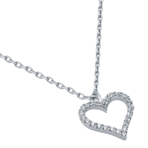 "RHODIUM PLATED 13MM CZ OUTLINE HEART NECKLACE 16"" + 2"""