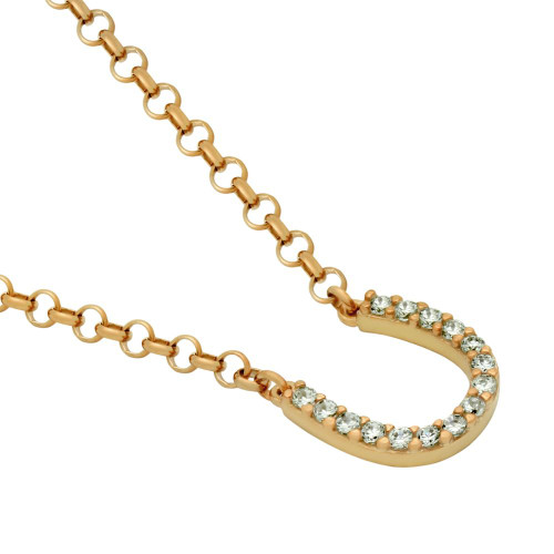 "SMALL ROSE GOLD PLATED CZ HORSESHOE NECKLACE 16"" + 2"""