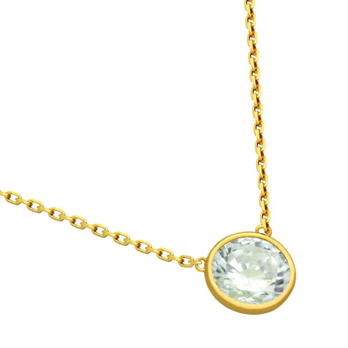 "GOLD PLATED 7.5MM CZ STONE ON NECKLACE 16"" + 2"""