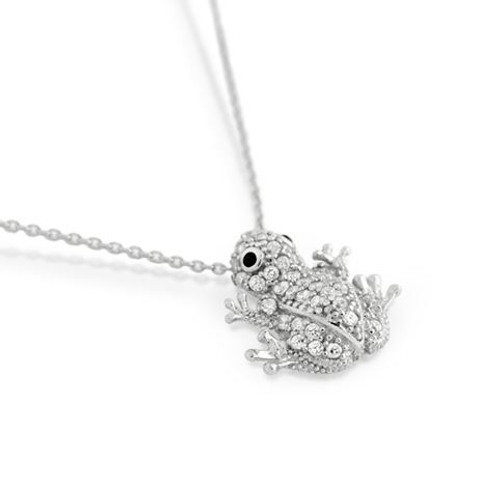 "RHODIUM PLATED CZ FROG NECKLACE IN 16"" + 2"""