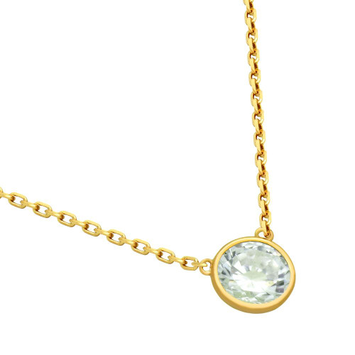"GOLD PLATED 6.5MM CZ STONE ON NECKLACE 16"" + 2"""
