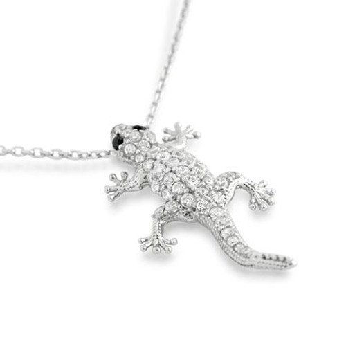 "RHODIUM PLATED CZ GECKO NECKLACE IN 16"" + 2"""