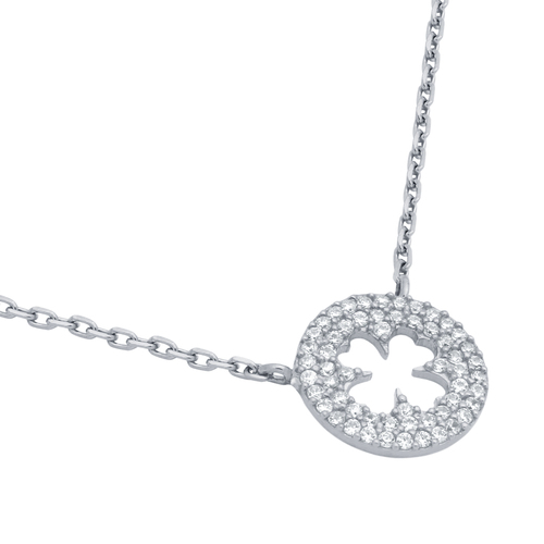 "RHODIUM PLATED CZ CUT OUT CLOVER NECKLACE IN 16"" + 2"""