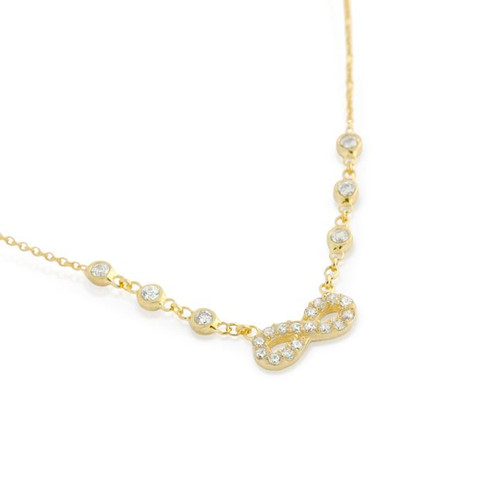 "GOLD PLATED CZ INFINITY NECKLACE IN 16"" + 2"""