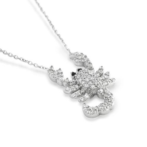 """RHODIUM PLATED CZ SCORPION NECKLACE IN 16"""" + 2"""""""