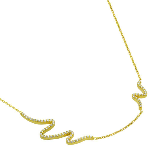 """GOLD PLATED CZ WAVE DESIGN NECKLACE 16"""" + 2"""""""
