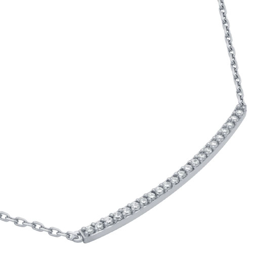 "RHODIUM PLATED LONG SINGLE ROW CZ BAR NECKLACE 16"" + 2"""