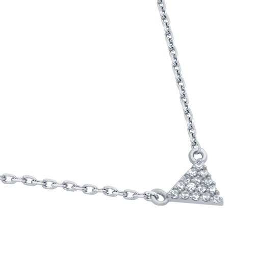 """RHODIUM PLATED CZ TRIANGLE NECKLACE 16"""" + 2"""""""
