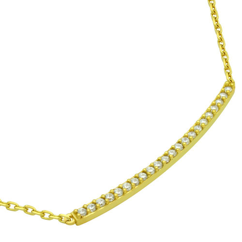 """GOLD PLATED LONG SINGLE ROW CZ BAR NECKLACE 16"""" + 2"""""""