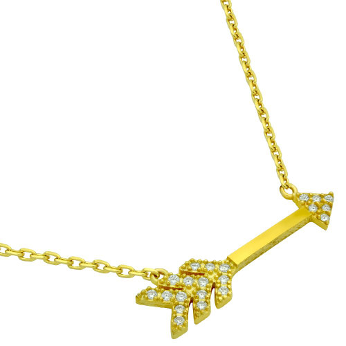 "GOLD PLATED CZ ARROW NECKLACE 16"" + 2"""