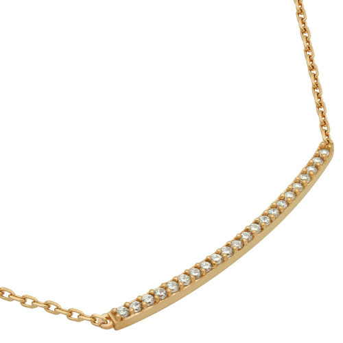 "ROSE GOLD PLATED LONG SINGLE ROW CZ BAR NECKLACE 16"" + 2"""