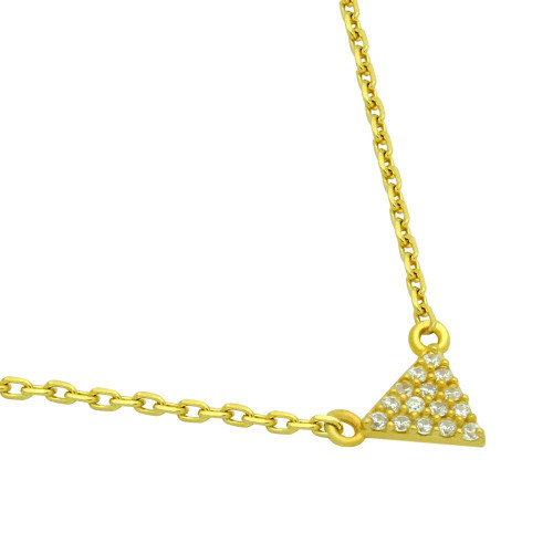 "GOLD PLATED CZ TRIANGLE NECKLACE 16"" + 2"""