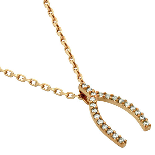 "ROSE GOLD PLATED SMALL CZ WISHBONE NECKLACE 16"" + 2"""