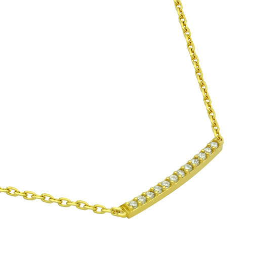 "GOLD PLATED SINGLE ROW CZ BAR NECKLACE 16"" + 2"""