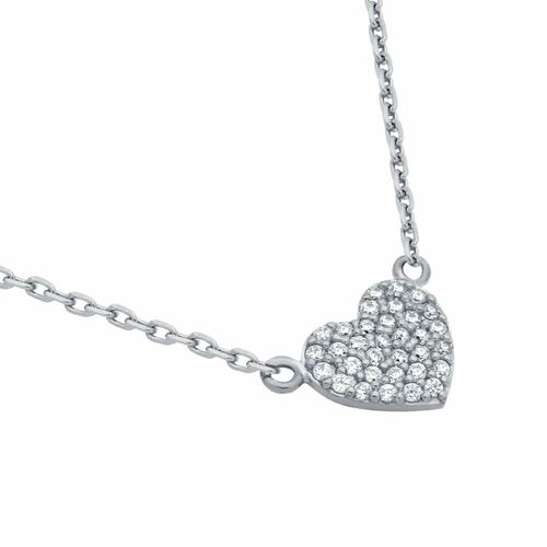 "RHODIUM PLATED CZ PAVE HEART NECKLACE 16"" + 2"""