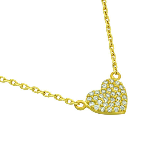 "GOLD PLATED CZ PAVE HEART NECKLACE 16"" + 2"""