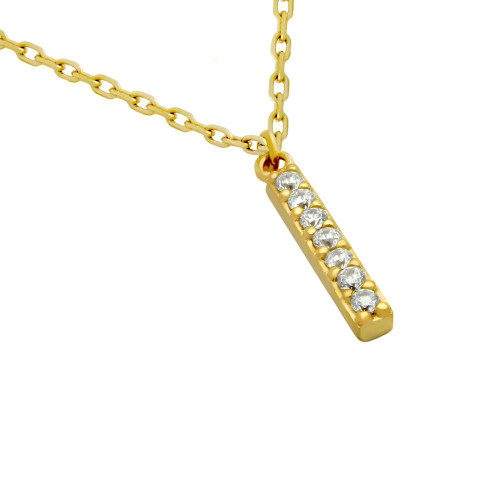 """GOLD PLATED 15MM CZ BAR NECKLACE 16"""" + 2"""""""