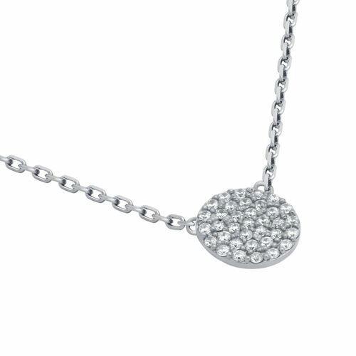 "RHODIUM PLATED 9MM CZ PAVE DISK NECKLACE 16"" + 2"""