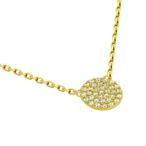 """GOLD PLATED 9MM CZ PAVE DISK NECKLACE 16"""" + 2"""""""