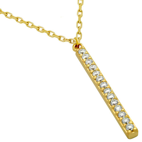 "GOLD PLATED 25MM CZ BAR NECKLACE 16"" + 2"""