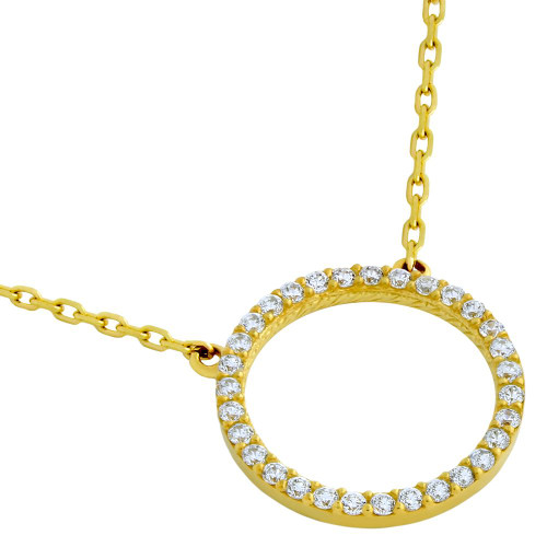 "GOLD PLATED 18MM CZ ETERNITY CIRCLE NECKLACE 16"" + 2"""