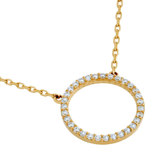 "ROSE GOLD PLATED 18MM CZ ETERNITY CIRCLE NECKLACE 16"" + 2"""