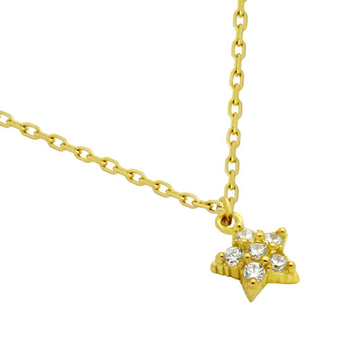 "GOLD PLATED STAR CZ CLUSTER NECKLACE 16"" + 2"""