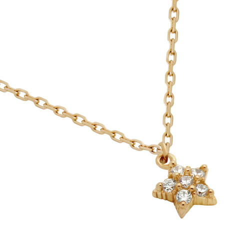 "ROSE GOLD PLATED STAR CZ CLUSTER NECKLACE 16"" + 2"""