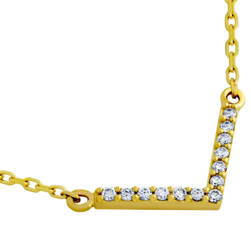 "GOLD PLATED ""V"" CHEVRON CZ NECKLACE 16"" + 2"""