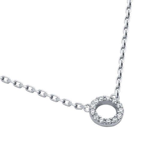 "RHODIUM PLATED 7MM CZ ETERNITY CIRCLE NECKLACE 16"" + 2"""