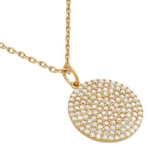 """ROSE GOLD PLATED 17MM MEDIUM CZ DISK NECKLACE 16"""" + 2"""""""