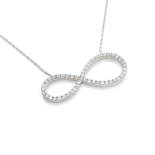 """RHODIUM PLATED CZ PAVE INFINITY SYMBOL NECKLACE 16"""" + 2"""