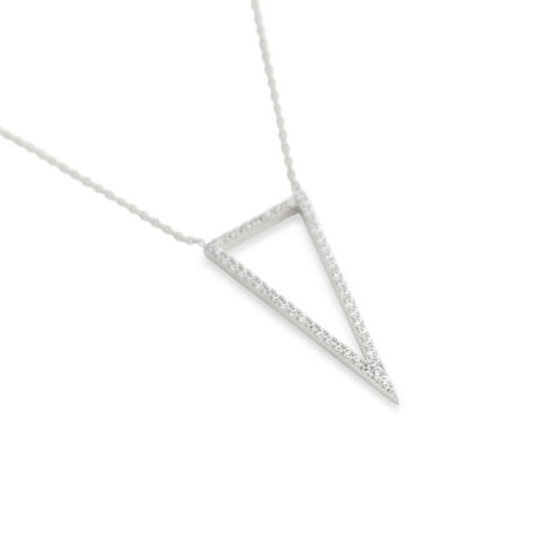 "RHODIUM PLATED CZ TRIANGLE OUTLINE NECKLACE 16"" + 2"