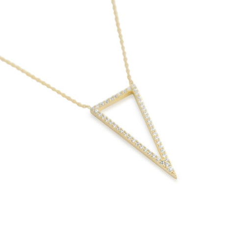 "GOLD PLATED CZ TRIANGLE OUTLINE NECKLACE 16"" + 2"
