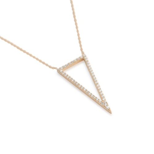 """ROSE GOLD PLATED CZ TRIANGLE OUTLINE NECKLACE 16"""" + 2"""