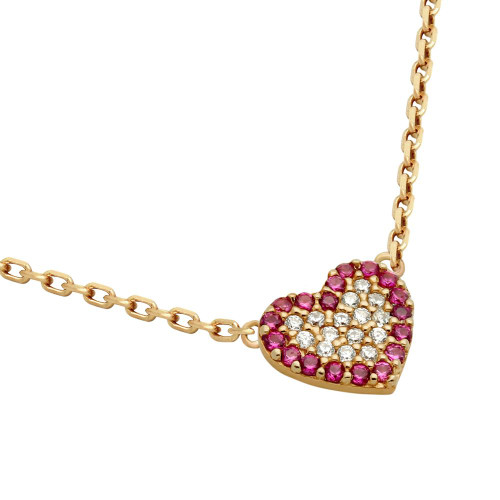 "ROSE GOLD PLATED CZ HEART WITH PINK OUTLINE NECKLACE 16"" + 2"""