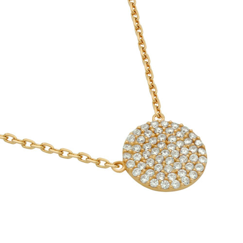 "ROSE GOLD PLATED 12MM CZ PAVE DISK NECKLACE 16"" + 2"""