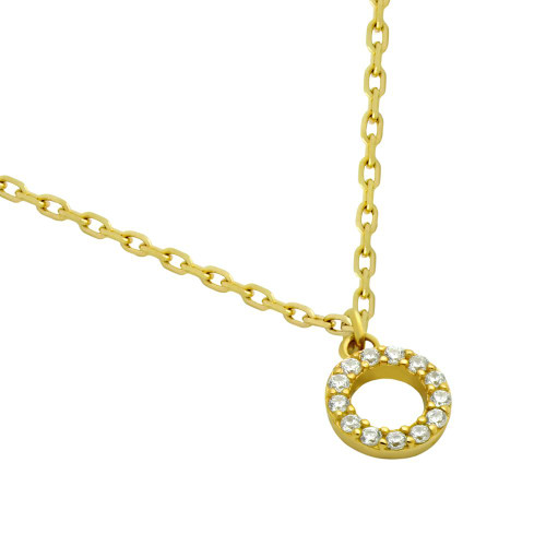 """GOLD PLATED 7MM DIAMETER CZ ETERNITY CIRCLE NECKLACE 16"""" + 2"""""""