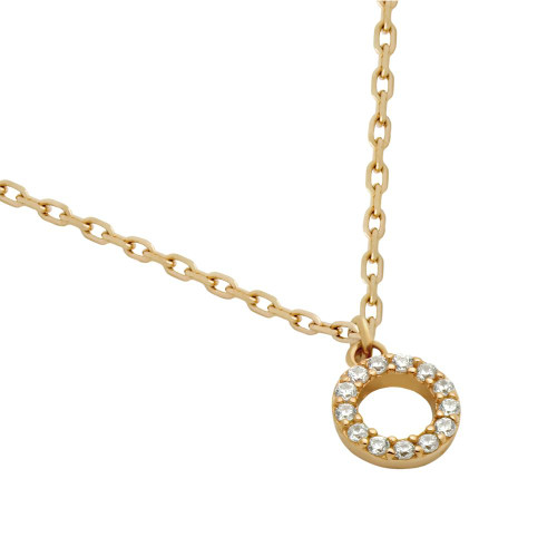 """ROSE GOLD PLATED 7MM DIAMETER CZ ETERNITY CIRCLE NECKLACE 16"""" + 2"""""""
