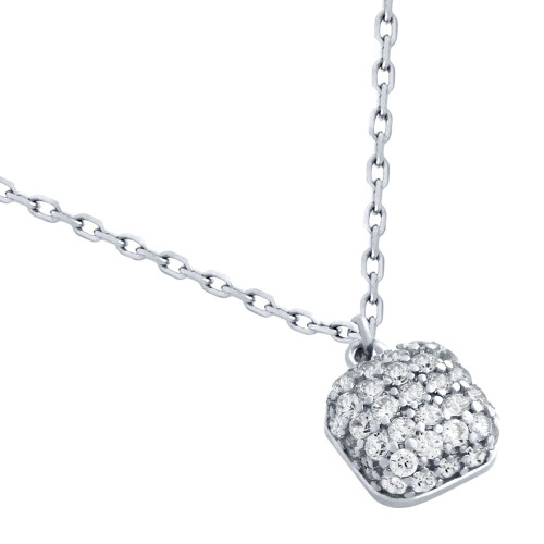 "RHODIUM PLATED CUSHION-SHAPE CZ NECKLACE 16"" + 2"""