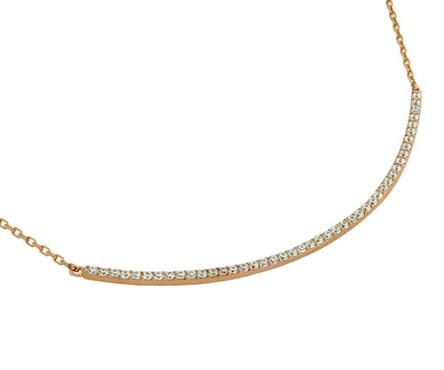 "ROSE GOLD PLATED LARGE CURVED CZ BAR NECKLACE 16"" + 2"""