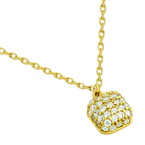 "GOLD PLATED CUSHION-SHAPE CZ NECKLACE 16"" + 2"""
