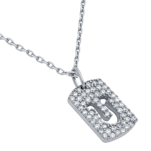 "RHODIUM PLATED CZ PAVE TAG NECKLACE WITH CUTOUT HORSESHOE 16"" + 2"""