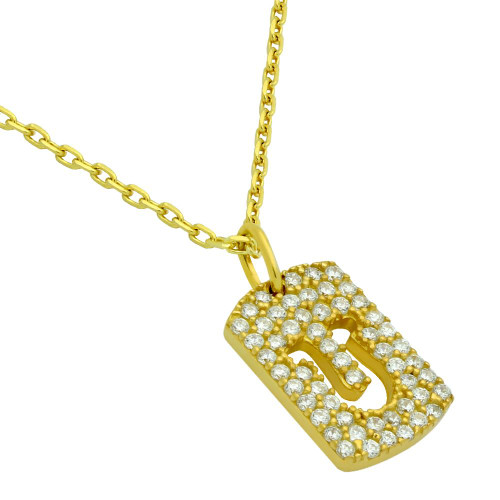 "GOLD PLATED CZ PAVE TAG NECKLACE WITH CUTOUT HORSESHOE 16"" + 2"""