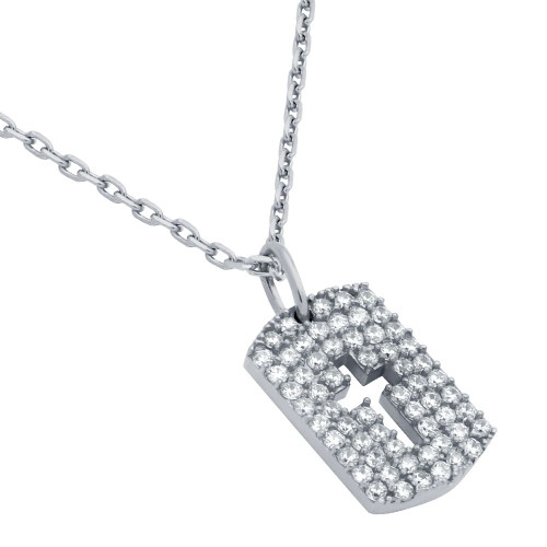 """RHODIUM PLATED CZ PAVE TAG NECKLACE WITH CUTOUT CROSS 16"""" + 2"""""""