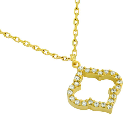 """GOLD PLATED CZ CUTOUT ROYAL CLOVER NECKLACE 16"""" + 2"""""""