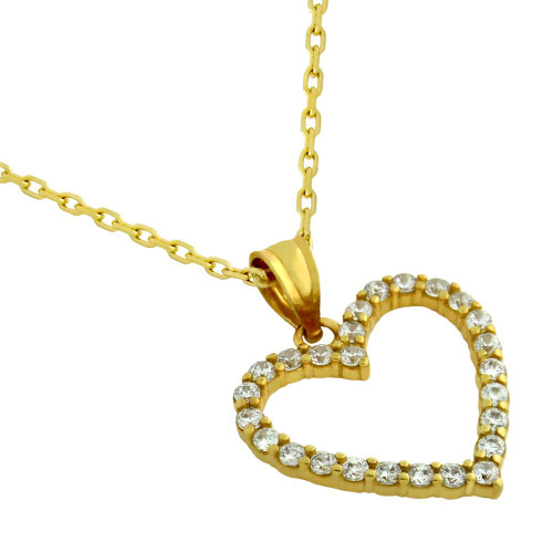 "GOLD PLATED 17MM CZ OUTLINE HEART NECKLACE 16"" + 2"""