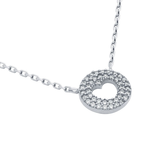 "RHODIUM PLATED CZ PAVE DISK NECKLACE WITH CUTOUT HEART 16"" + 2"""