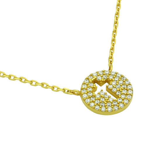 """GOLD PLATED CZ PAVE DISK NECKLACE WITH CUTOUT CROSS 16"""" + 2"""""""